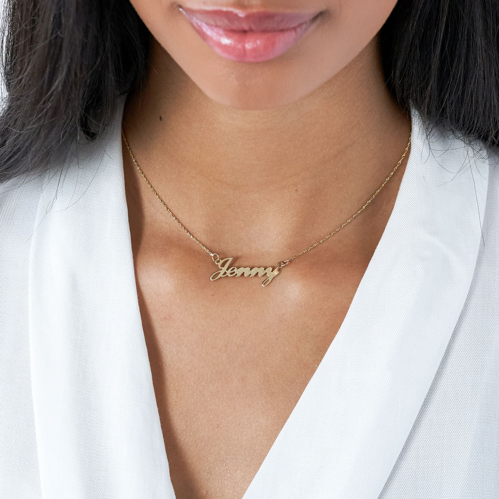 Small 14ct Gold Classic Name Necklace - 1