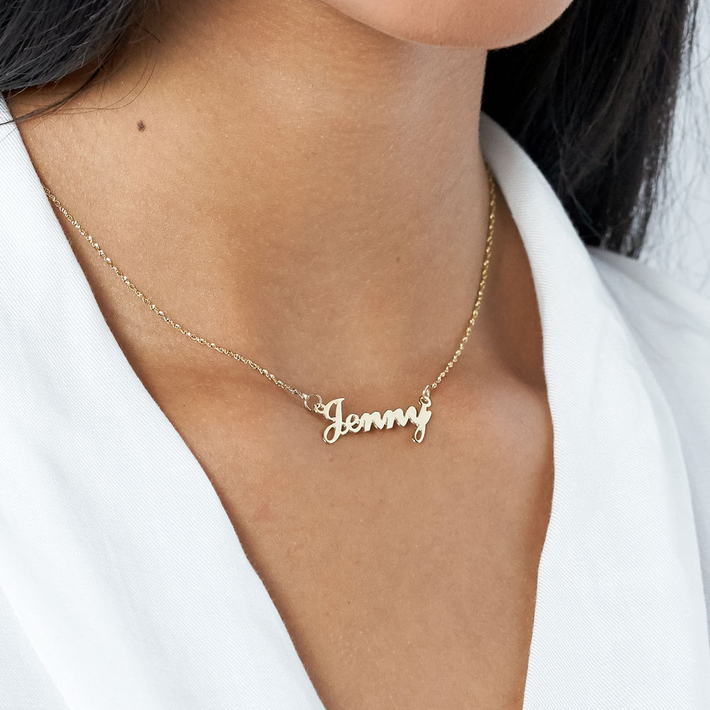 Small 14ct Gold Classic Name Necklace - 2