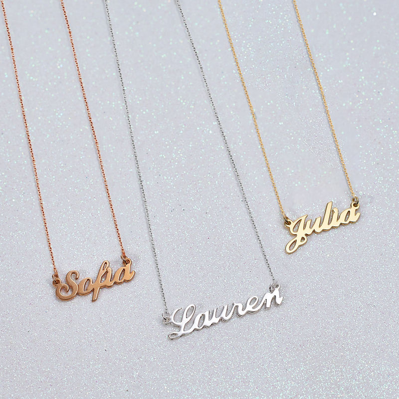 Small Classic Name Necklace in 18ct Rose Gold Plating - 3