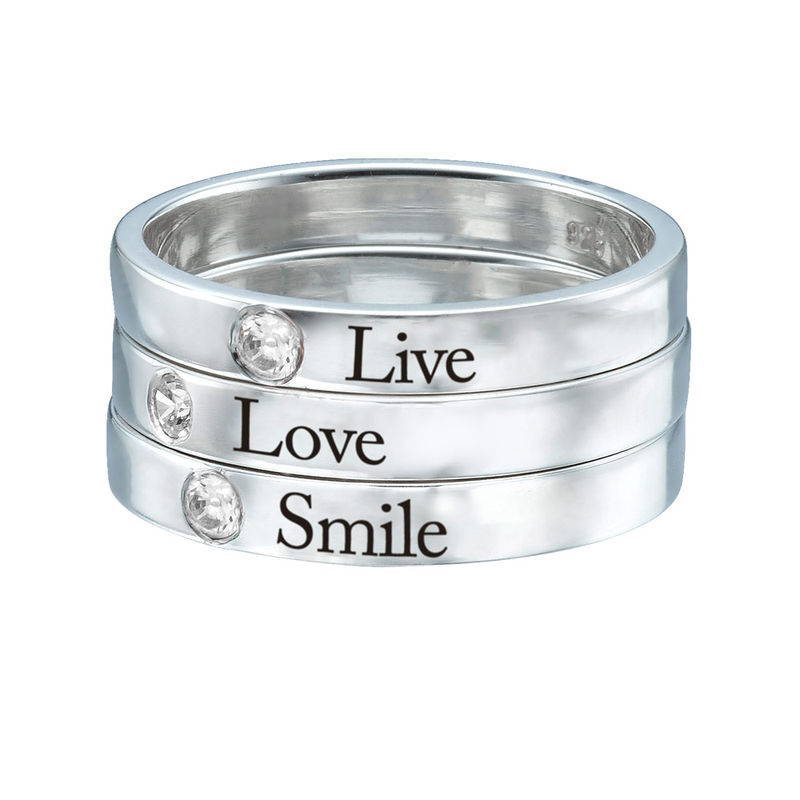 Stackable Birthstone Name Ring in Sterling Silver - 3