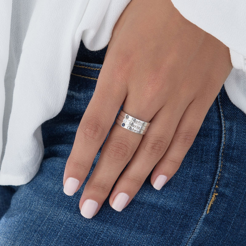 Stackable Birthstone Name Ring in Sterling Silver - 5