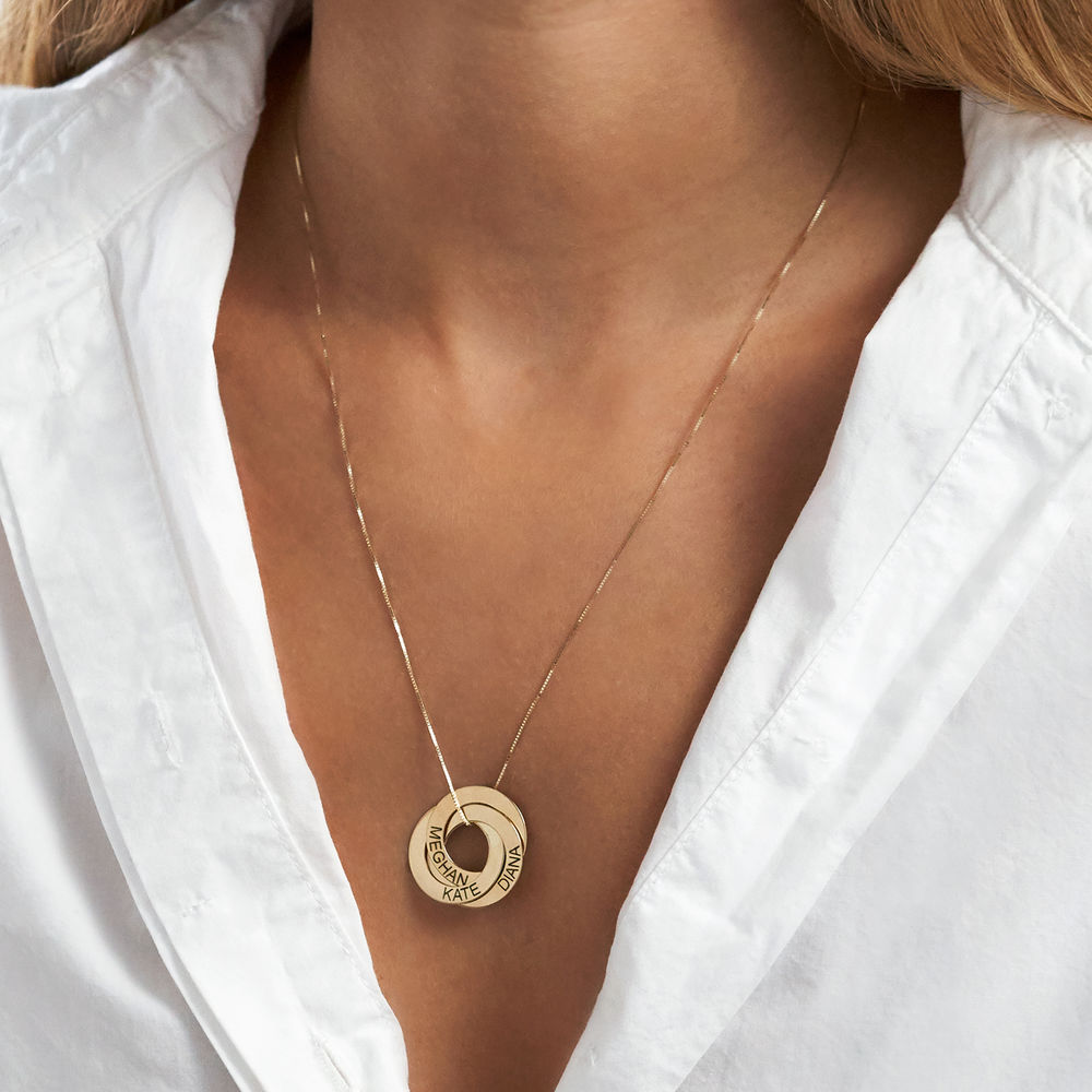 Russian Ring Necklace with Engraving in 10ct Yellow Gold - 4