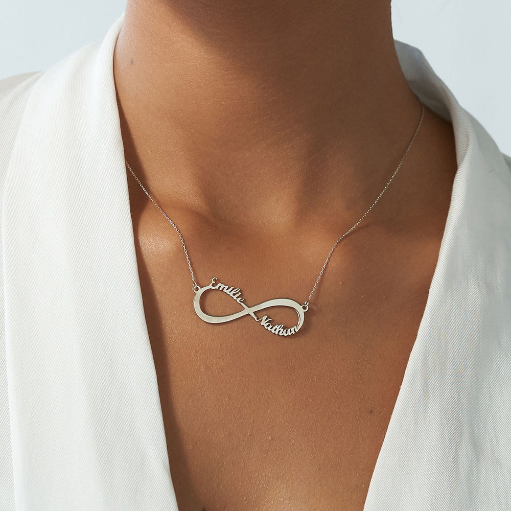 Infinity Name Necklace in 10ct White Gold - 2