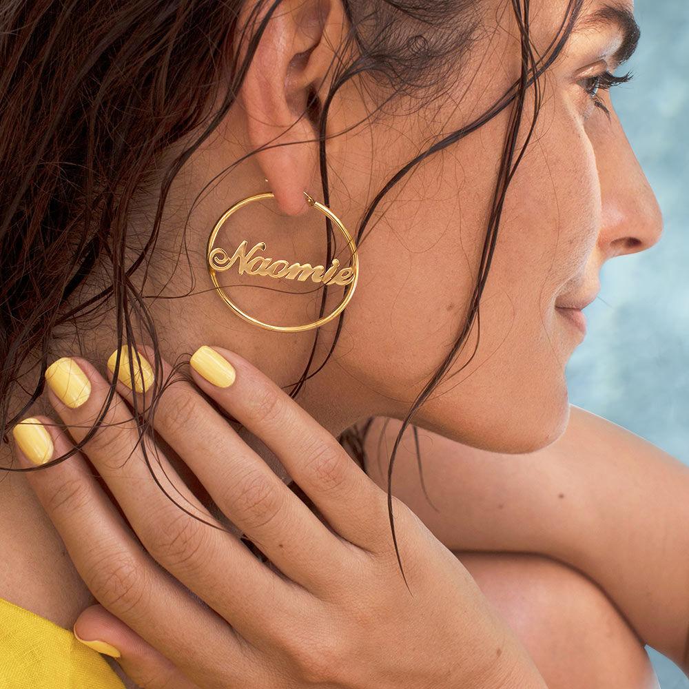 18ct Gold Plated Silver Hoop Name Earrings - 3