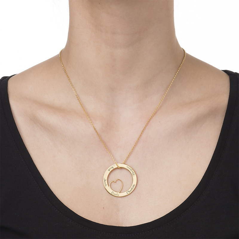 Family Love Circle Pendant Necklace with Gold Plating - 1