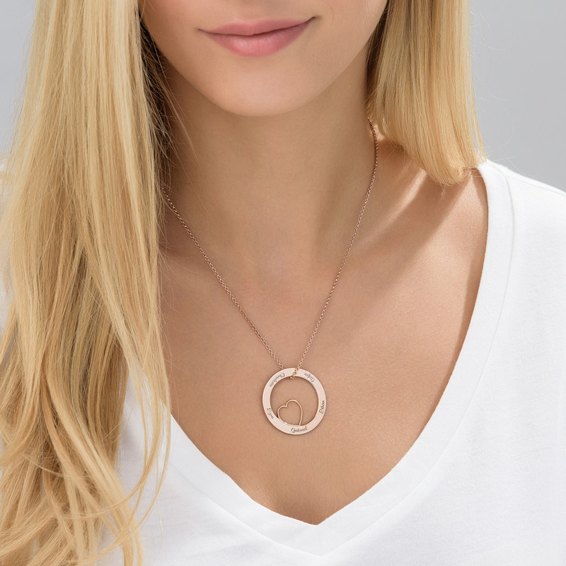 Family Love Circle Pendant Necklace - Rose Gold Plated - 1