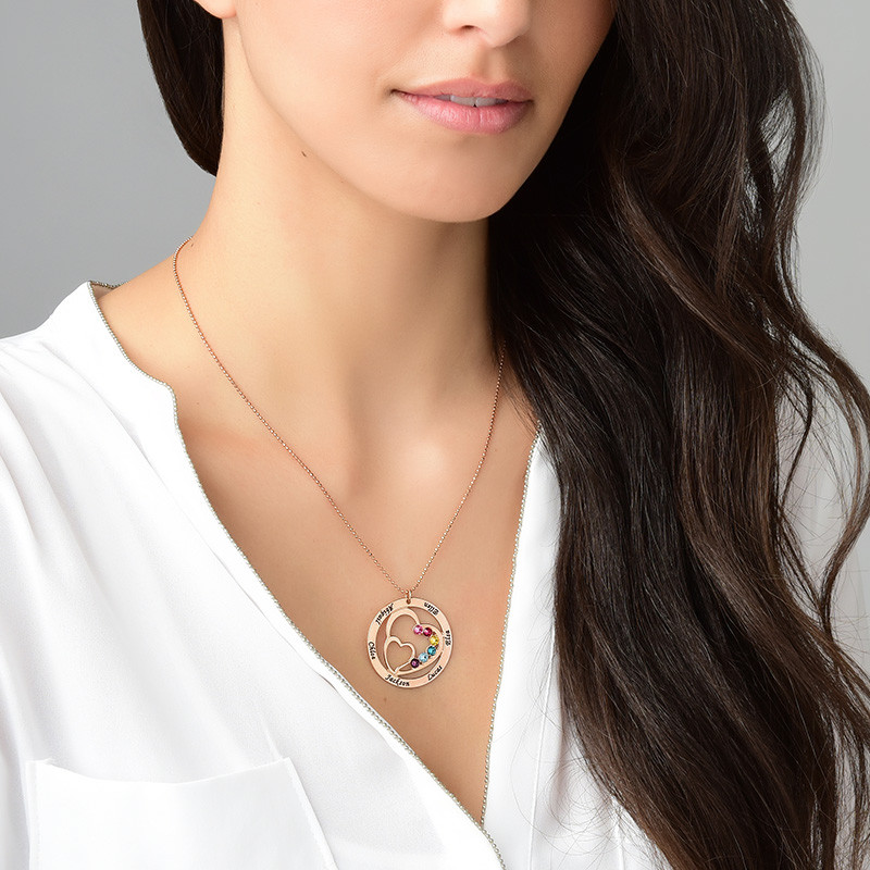 Heart in Heart Birthstone Necklace for Mums - Rose Gold Plating - 4