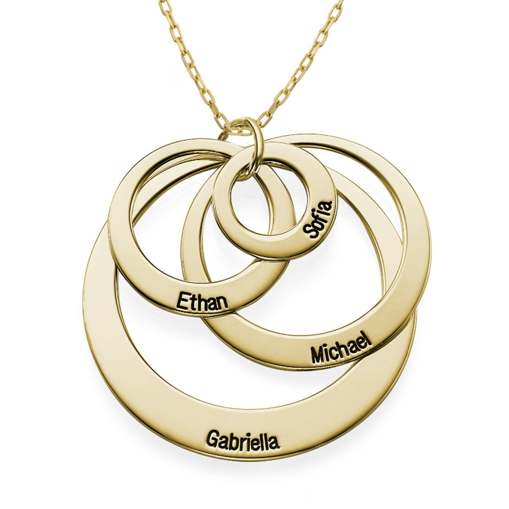 Four Open Circles Necklace with Engraving in 10ct Yellow Gold - 1