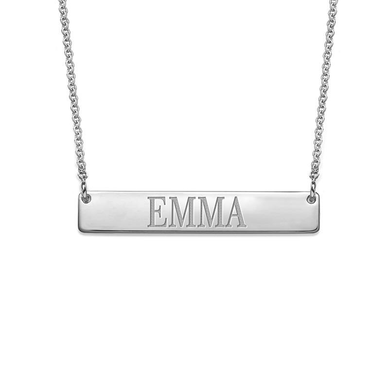 Silver Engraved Bar Necklace