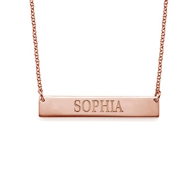 18ct Plated Rose Gold Bar Necklace with Engraving