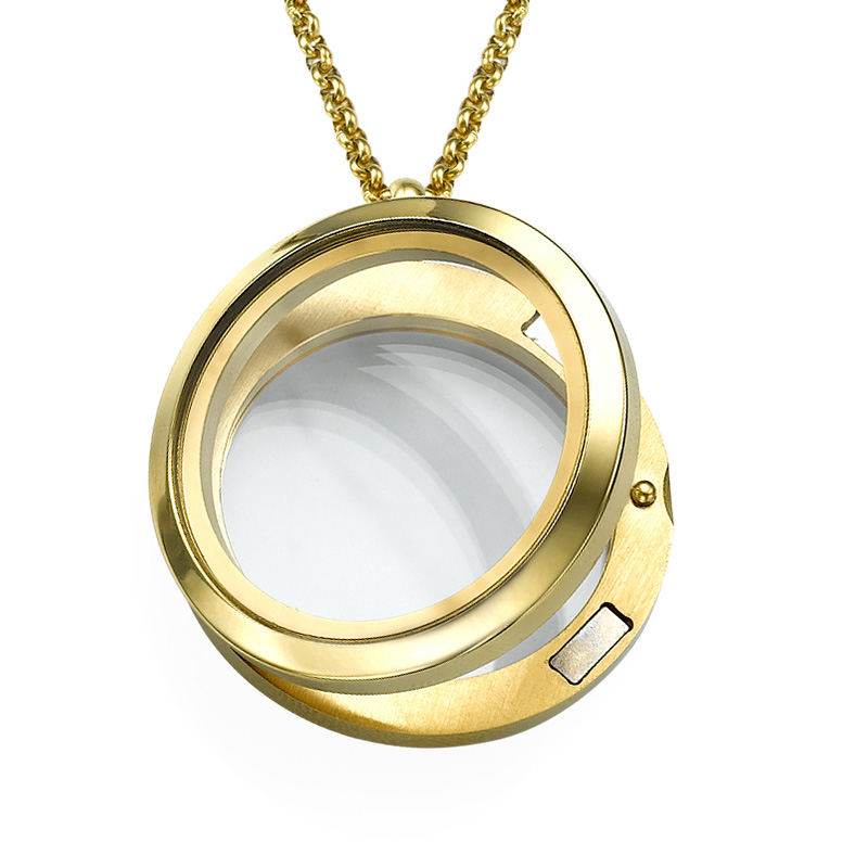 Gold Plated Round Locket Necklace - 1