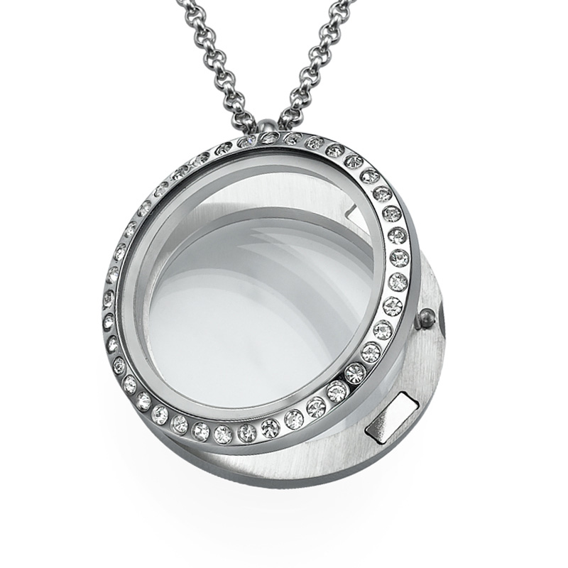 Silver Round Locket with Crystals - 1