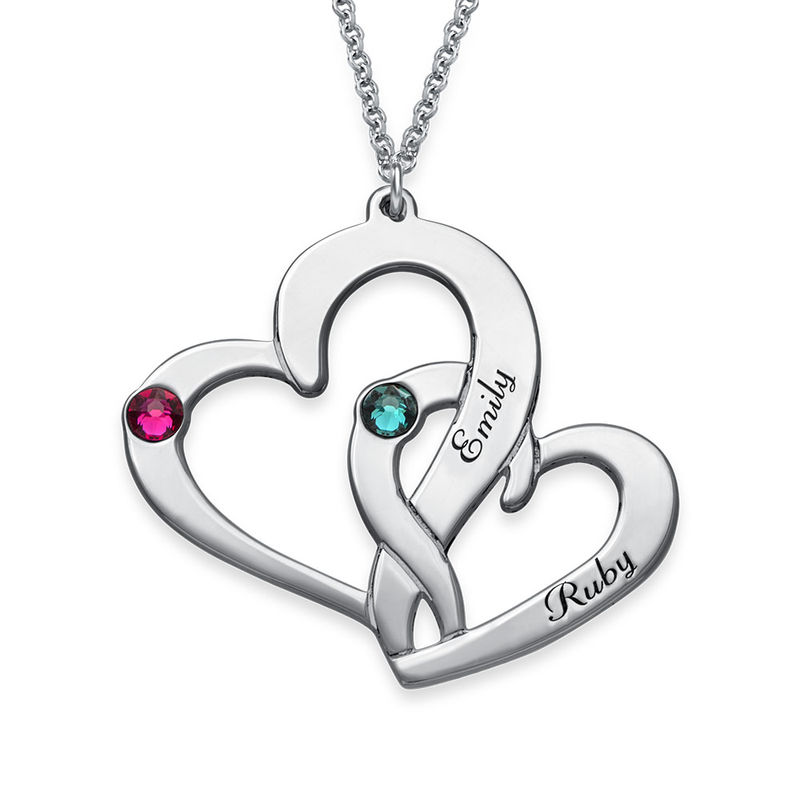 Engraved Two Heart Necklace in Sterling Silver