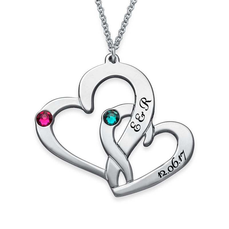 Engraved Two Heart Necklace in Sterling Silver - 1