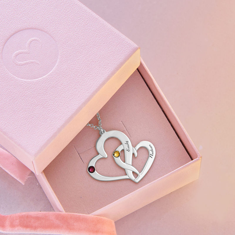 Engraved Two Heart Necklace in Sterling Silver - 4