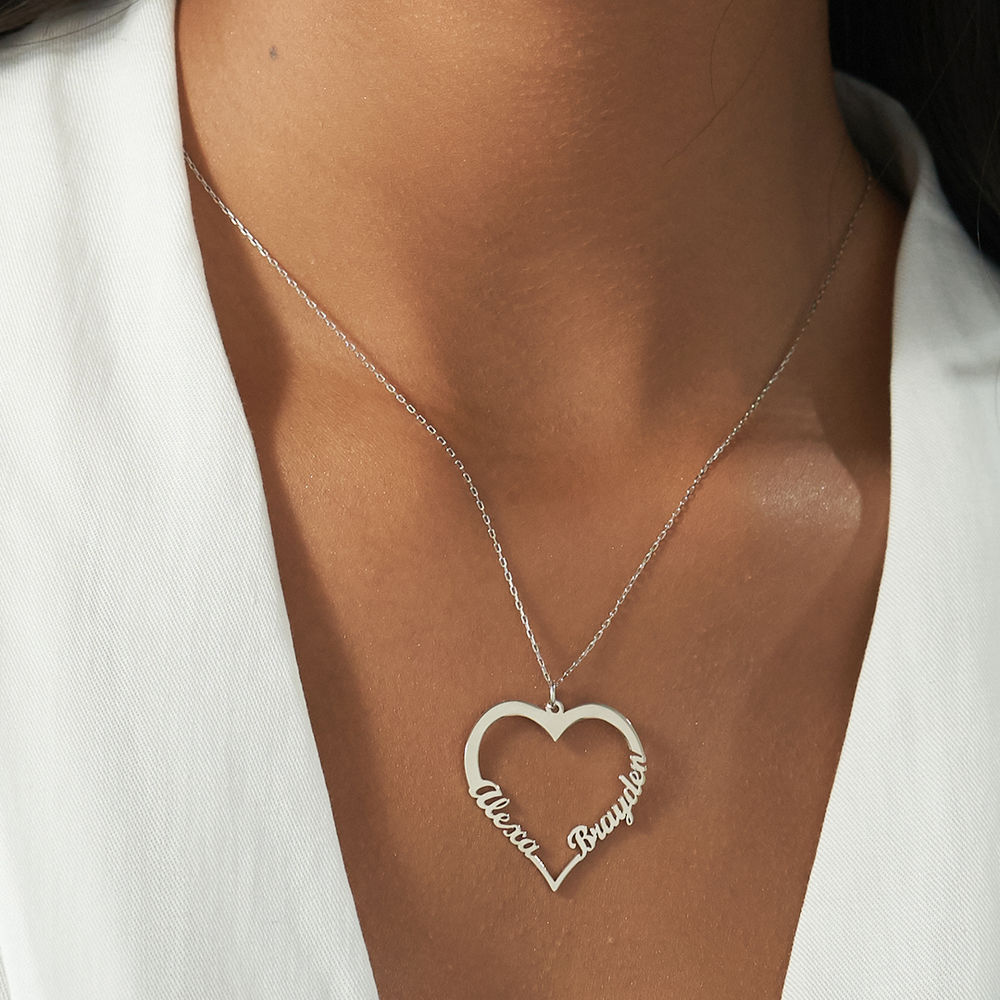 10ct White Gold Heart Necklace - 2