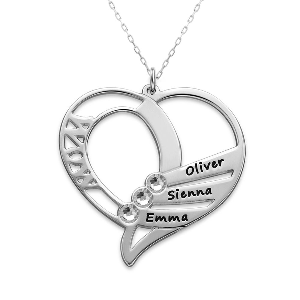 Engraved Mum Birthstone Necklace in 10ct White Gold - 1