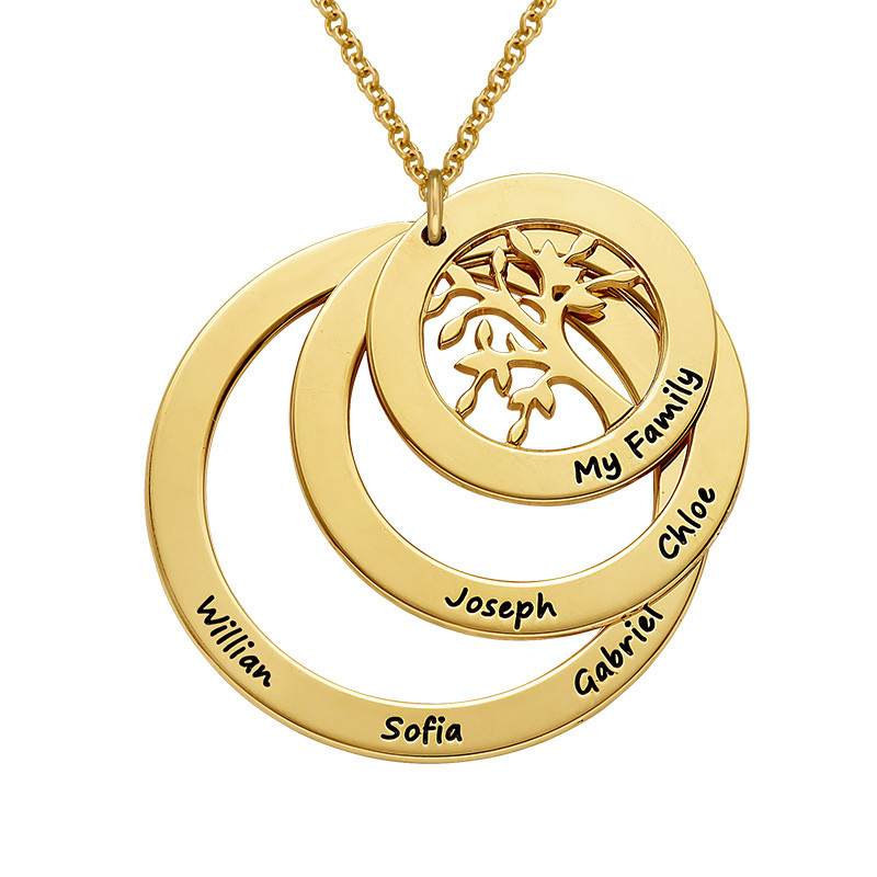 Gold Plated Family Circle Necklace with Hanging Family Tree - 1