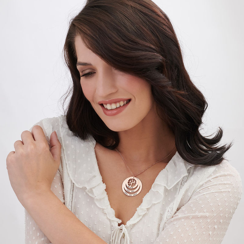 Family Circle Necklace with Hanging Family Tree in Rose Gold Plated - 2