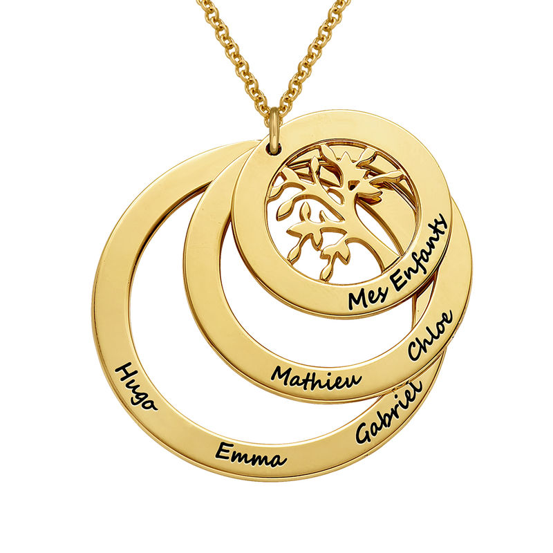 18k Gold Vermeil Family Circle Necklace with Hanging Family Tree - 1