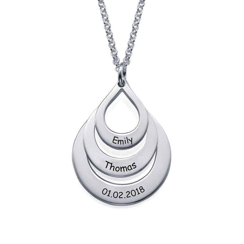 Engraved Family Necklace Drop Shaped in Sterling Silver - 2