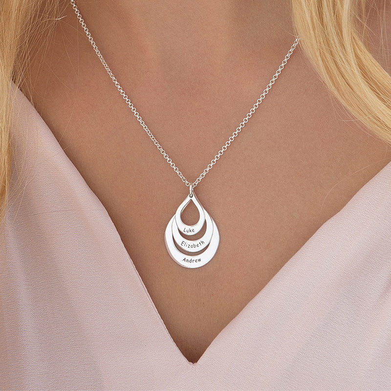 Engraved Family Necklace Drop Shaped in Sterling Silver - 5