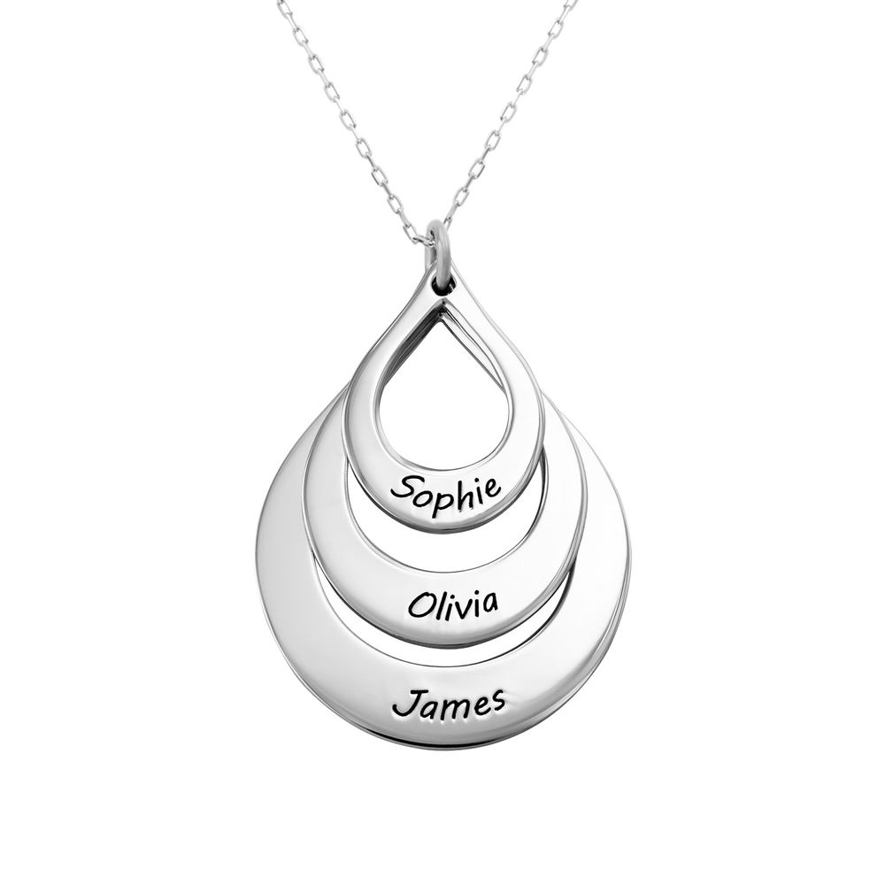 Engraved Family Necklace Drop Shaped in White Gold