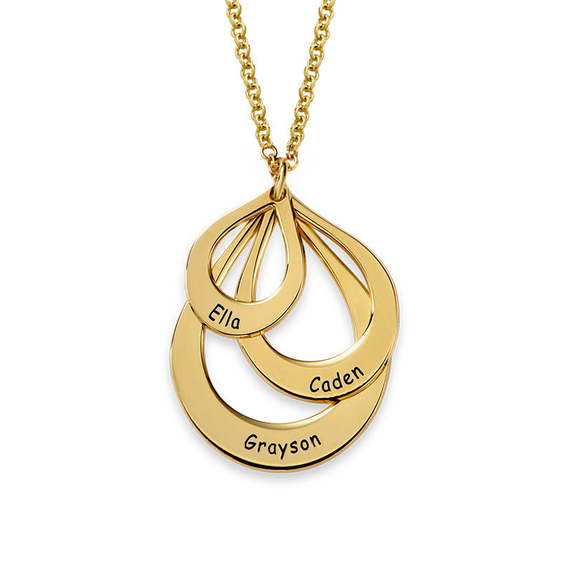 Engraved Family Necklace Drop Shaped in 18ct Gold Vermeil - 1