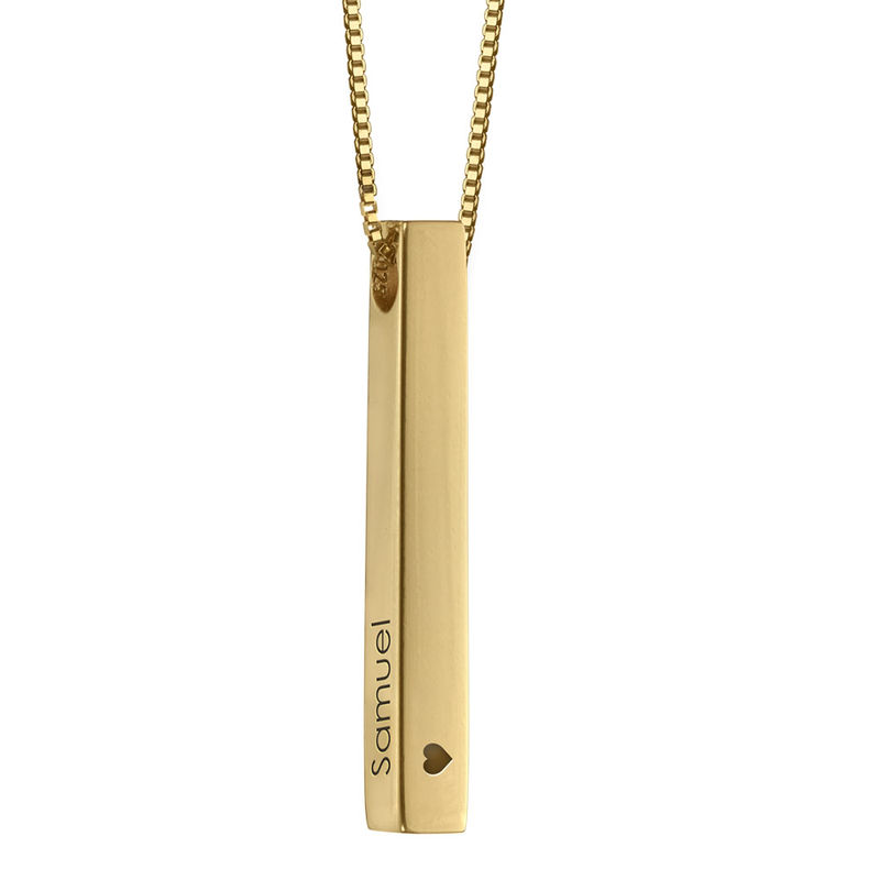 Dimensional Love 3D Bar Necklace in 18k Gold Plating - 2