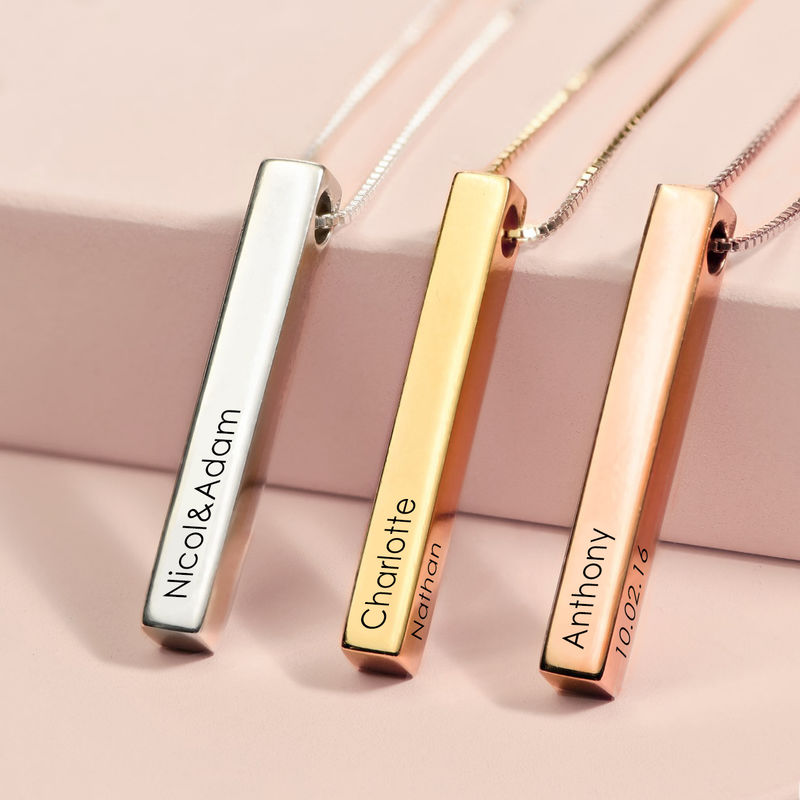 Dimensional Love 3D Bar Necklace in Rose Gold Plating - 2