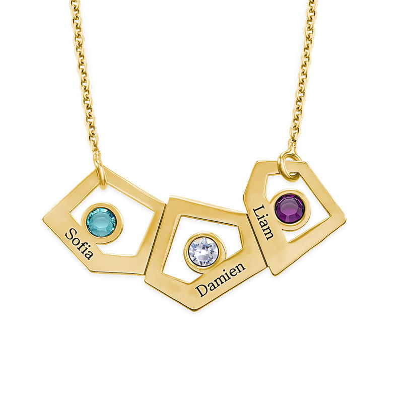 Gold Plated Geometric Mother's Necklace with Birthstones