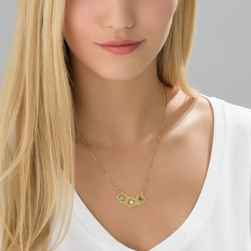 Gold Plated Geometric Mother's Necklace with Birthstones - 3