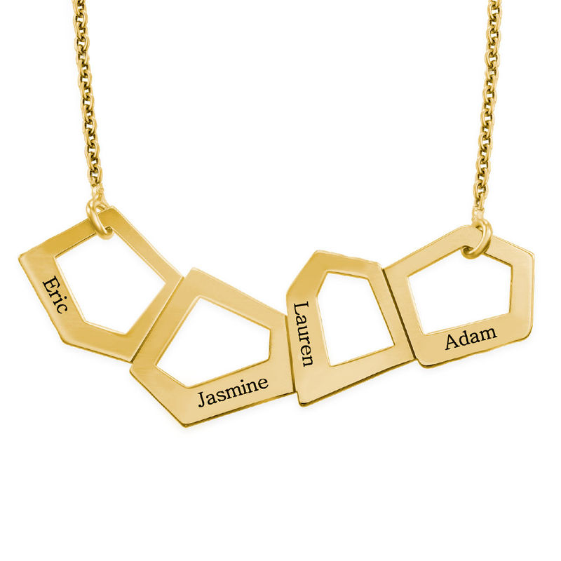 Geometric Necklace for Mums with Engraving in Gold Plating