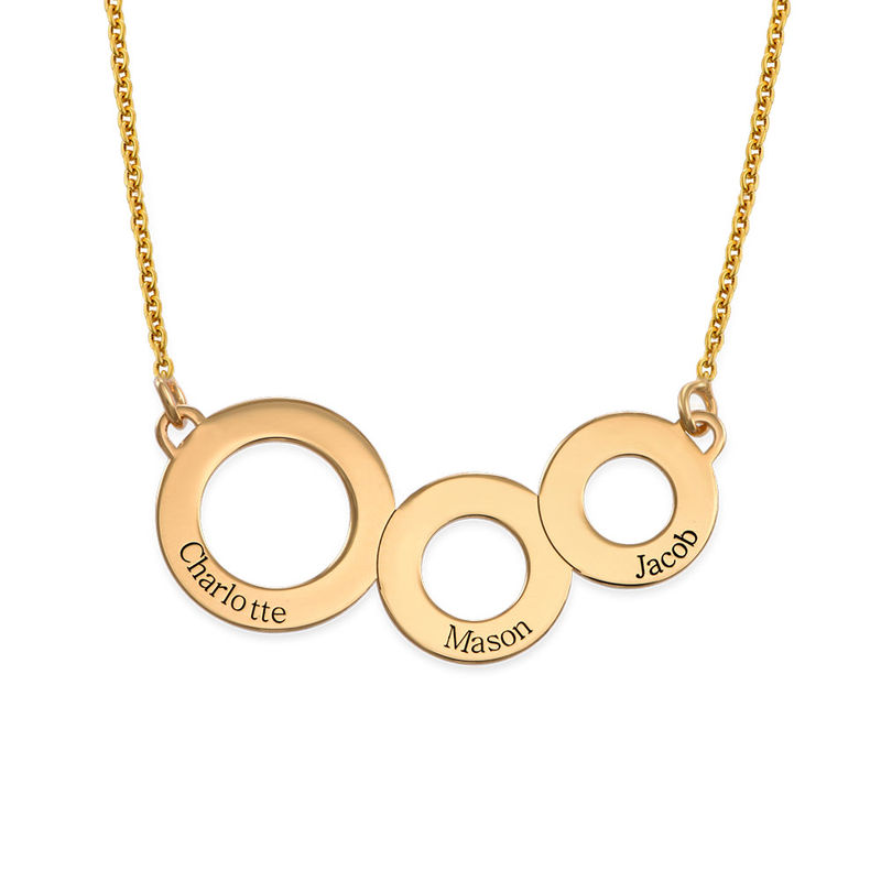 Engraved Circles Necklace with Gold Plating - 1