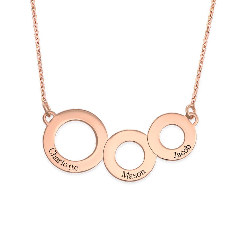 Engraved Circles Necklace with Rose Gold Plating - 1