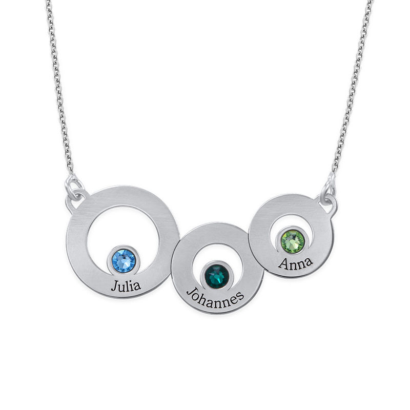 Circles Necklace with Engraving and Birthstones in Sterling Silver - 1