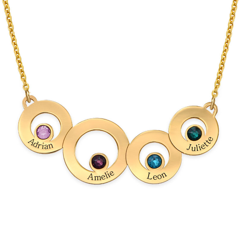 Gold Plated Circles Necklace with Engraving and Birthstones