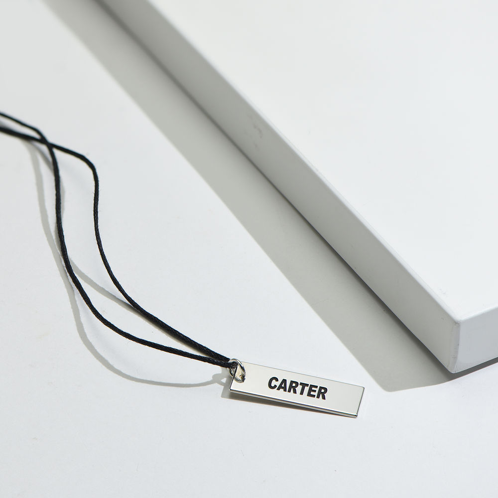 Custom Vertical Dog Tag Necklace for Boys in Sterling Silver - 1