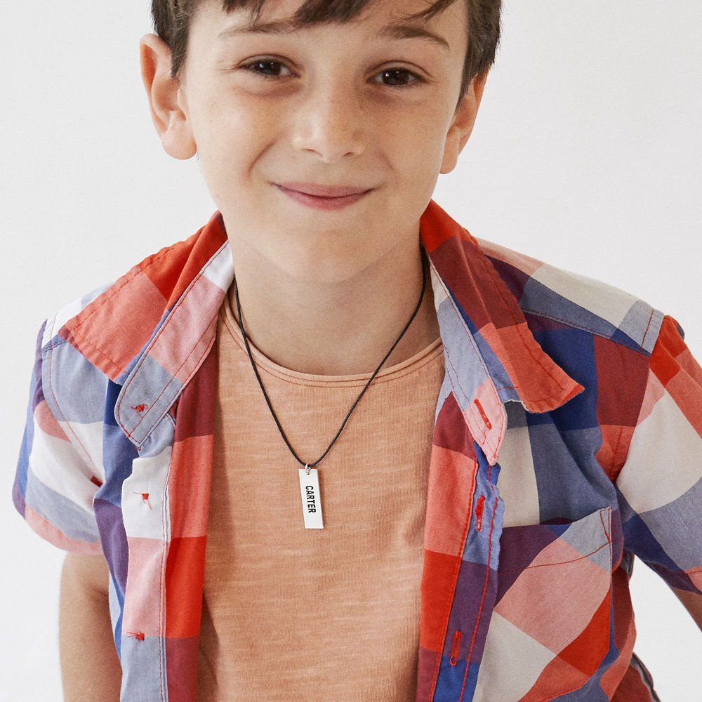 Custom Vertical Dog Tag Necklace for Boys in Sterling Silver - 3