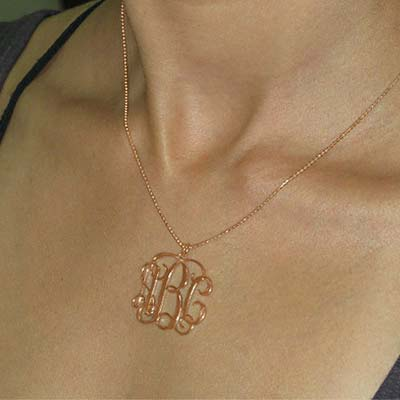 18ct Rose Gold Plated Silver Monogram Necklace - 1