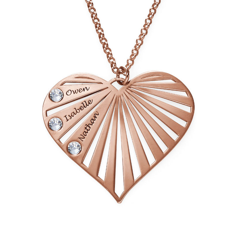 Family Necklace with birthstones in Rose Gold Plating - 1