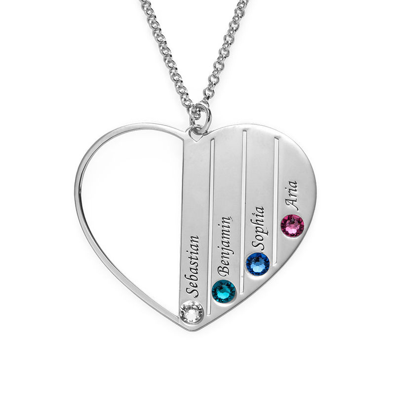Mum Birthstone Necklace in Silver Sterling - 1