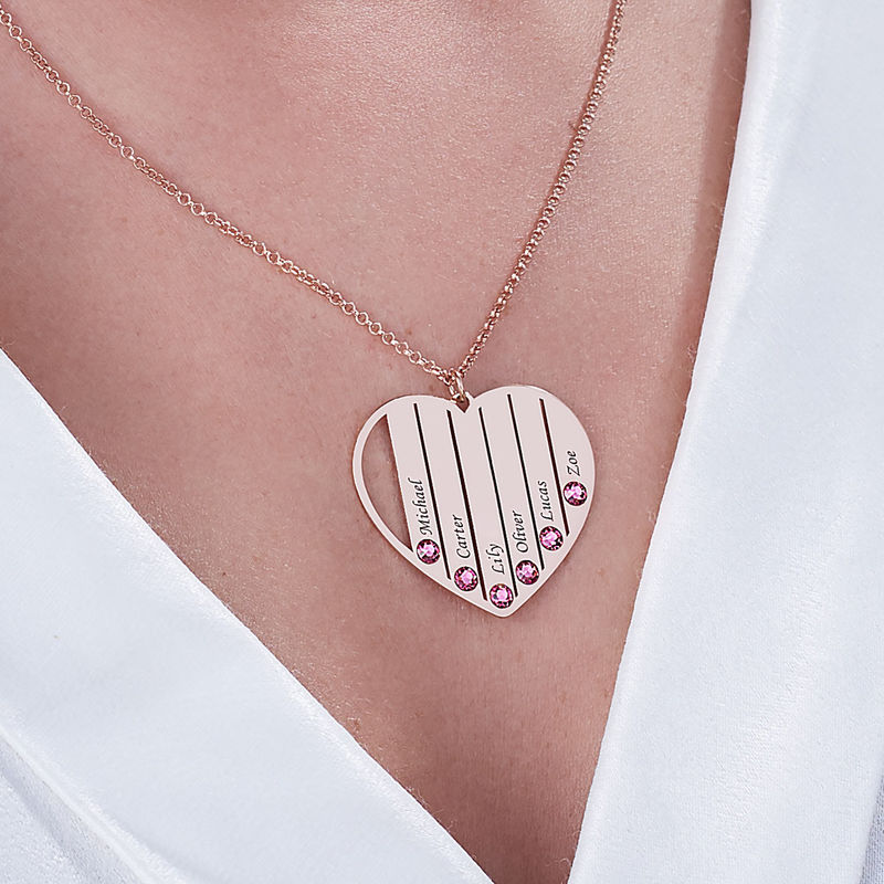 Mum Birthstone necklace in Rose Gold Plating - 5