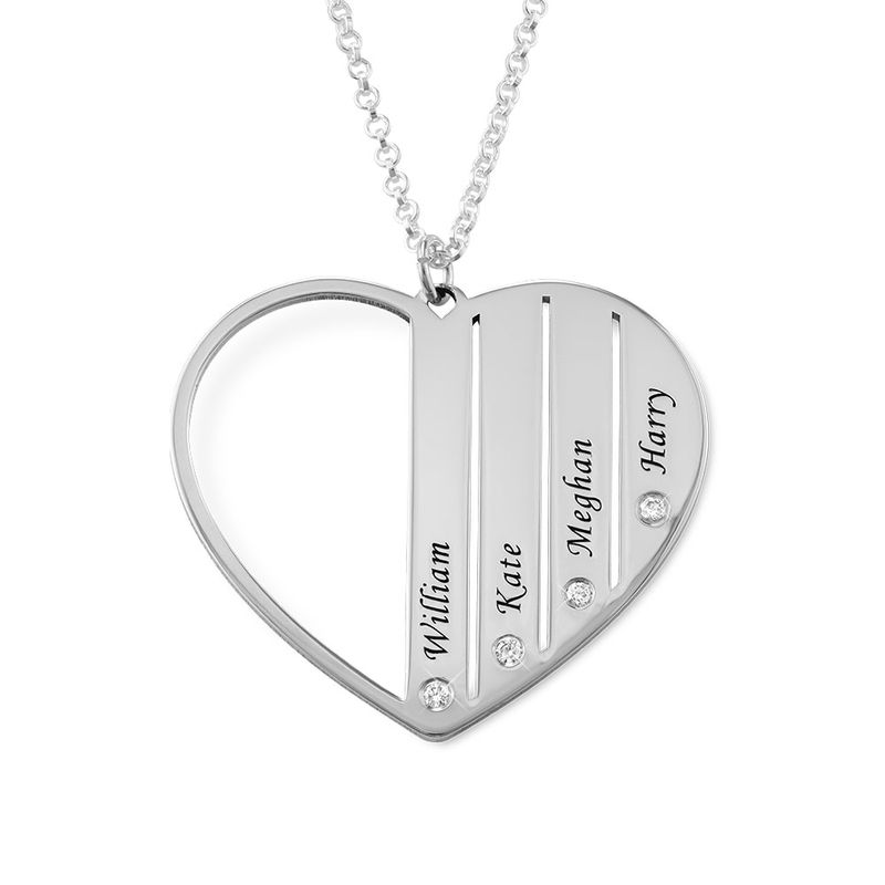 Mum Necklace in Silver with Diamonds