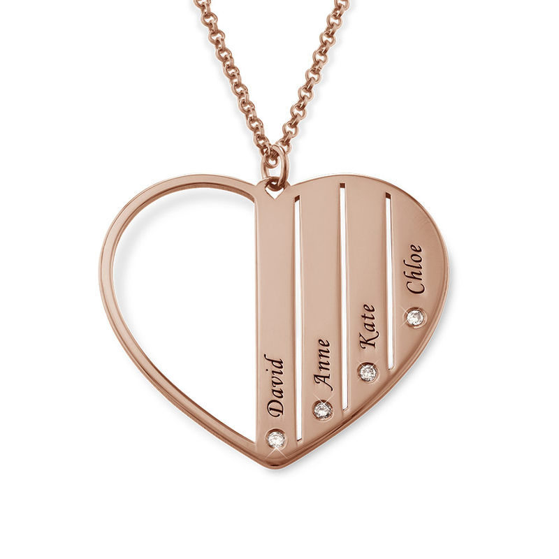 Mum Necklace in Rose Gold Plating with Diamonds - 1