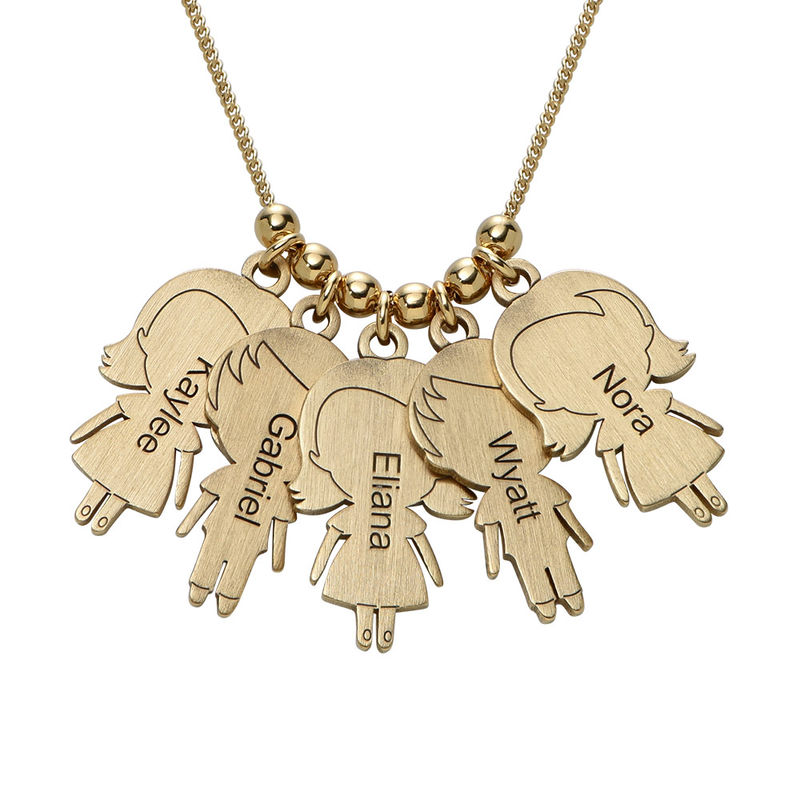 Mum Necklace with Children Charms in Gold Plating - 1