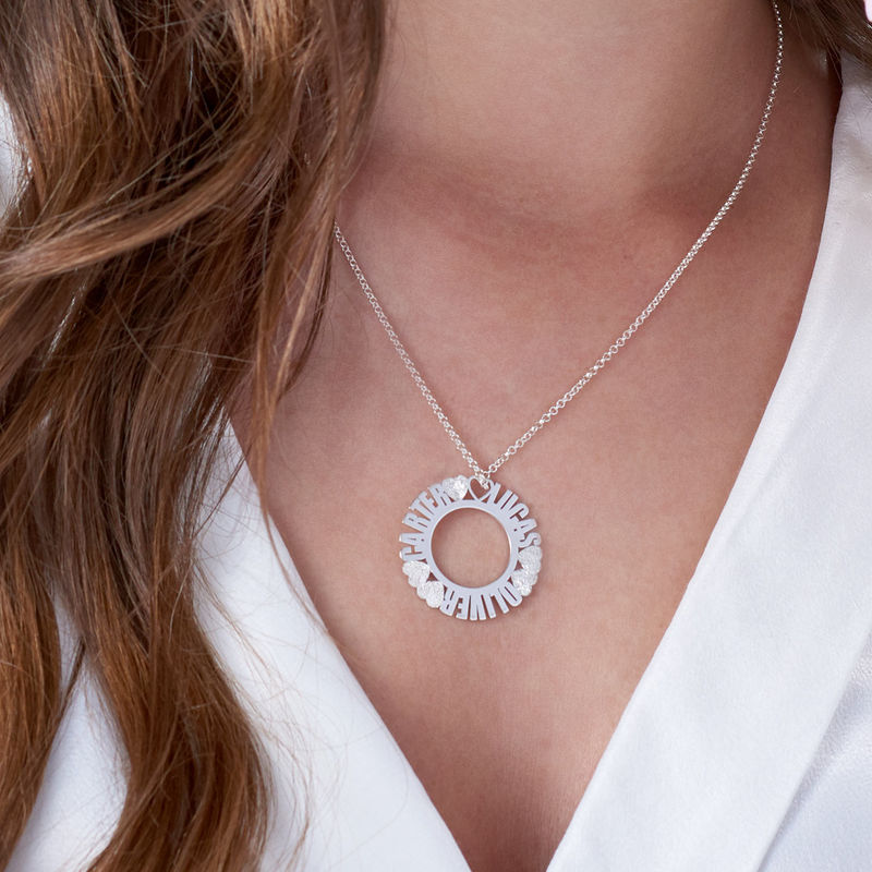Circle Name Necklace in Silver Sterling with Diamond Effect - 2