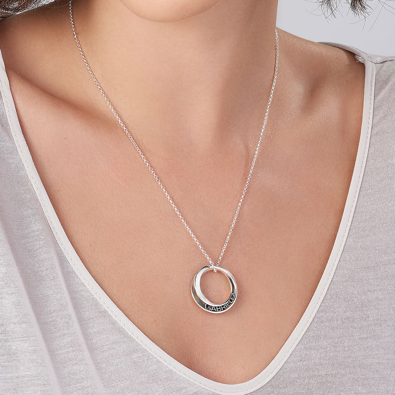 Personalised 3D Circle Necklace in Sterling Silver - 3