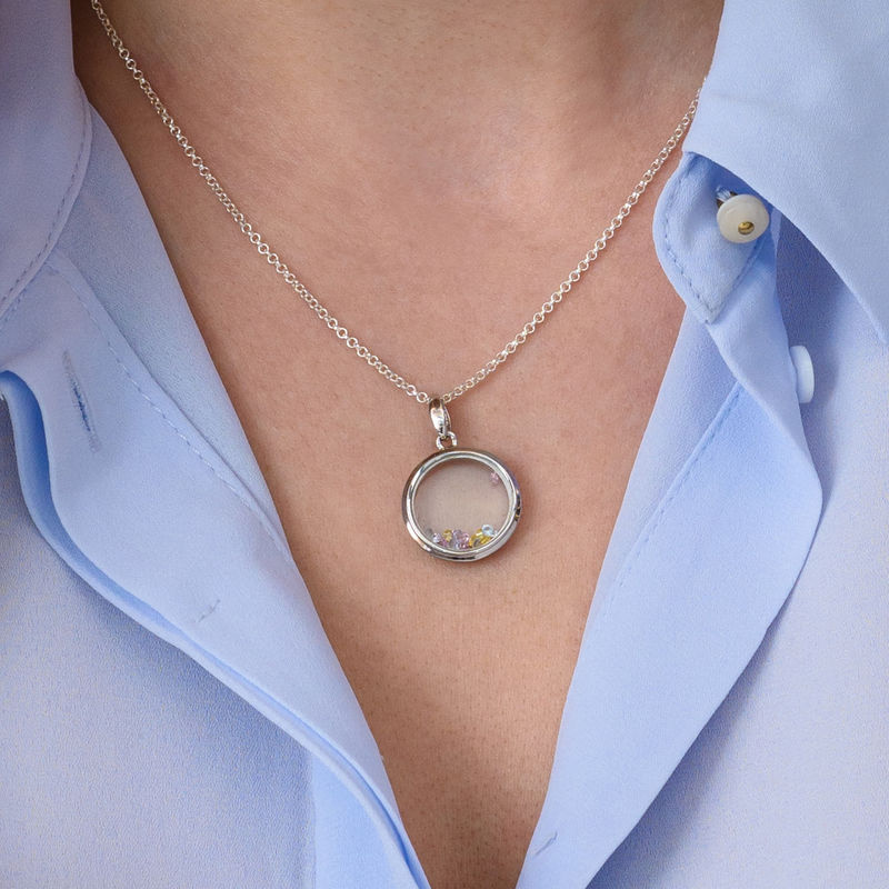 Round Shape Locket with Coloured Cubic Zirconia - 3