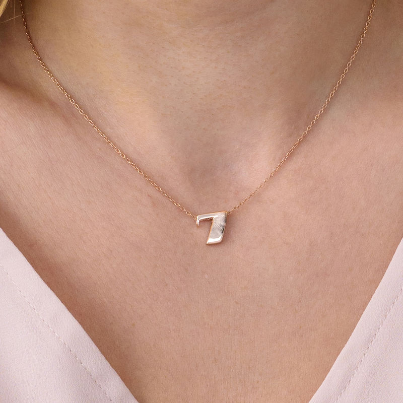 Number Pendant Necklace in Rose Gold Plating - 2